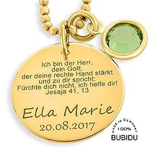 Taufkette Mädchen Gold mit Gravur Kette Taufspruch ❤️ Namenskette Baby Taufe ❤️ Geburtsstein Taufschmuck Korinther Spruch ❤️ Taufe Geschenk Taufketterl mit Namen Schmuck Taufe   HANDMADE IN GERMANY
