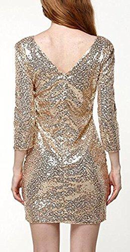 YaoDgFa Damen Paillettenkleid Minikleid Cocktailkleid Abendkleid Partykleider Etui Kleid mit Pailletten Langarm Rückenfrei Kurz - 2
