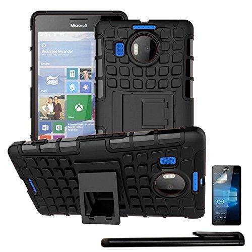 4in1 Hybrid Custodia per - Microsoft Lumia 950 XL / 950 Xl Dual Sim - antiurto telefono cellulare resistente caso della copertura con supporto stand / protector doppio strato morbido silicone Tpu in nero + 1x stilo + 1x pellicola protezione