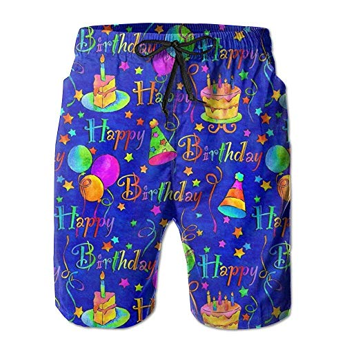 Paint0 Happy Birthday Blue Cake Mens Summer Breathable Swim Trunks Beach Shorts Cargo Shorts L -