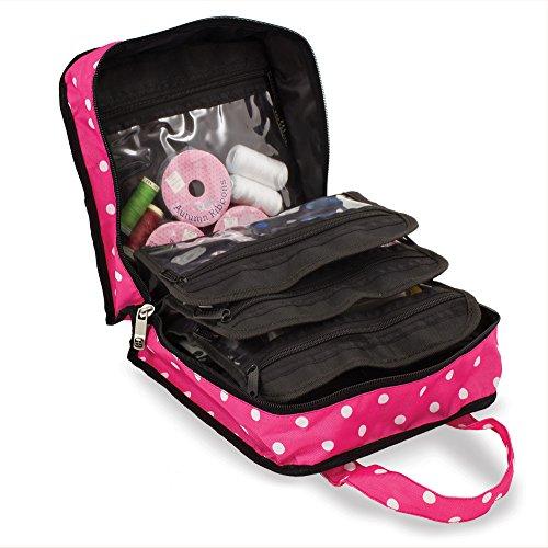 Caja de accesorios de coser, tejer y artesanía Bolsa de almacenamiento organizadora con lunares rosas.