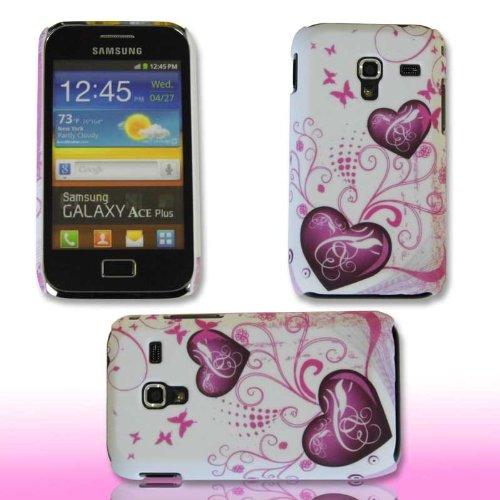 Handy Tasche Hard Case Cover Samsung Galaxy Ace Plus GT-S7500 / Handytasche Schutzhülle Herz M1