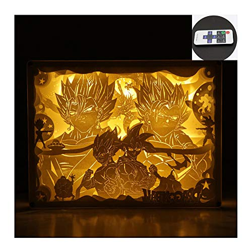 ZSSM Papierschnitzerlampe Fernbedienung 3D Anime 8 dynamische Effekte 10 Ebenen der Dimmfunktion Kristall-Massivholzrahmen handgemachte LED-Beleuchtung (Dragon Ball),Crystalframe (Der Tag Der Mutter Handwerk Einfach)