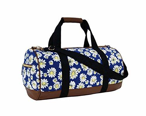 Unisex, in tela, motivo: borsone da viaggio Borsone da palestra/bagaglio a mano, per le vacanze, Borsone sportivo Wallflower Purple medium Daisy Flower Navy