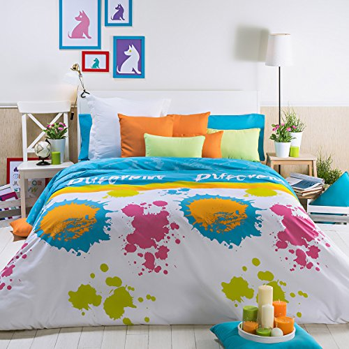 Sancarlos - Funda Nordica Paint, Funda con largo extra para remeter bajo el colchón, Incluye: nórdica, bajera ajustable y funda de almohada
