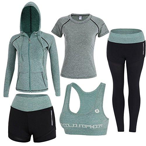 Zetiy Damen 5er-Set Strech Tights Sport Yoga Trainingsanzug (Small, Grün)
