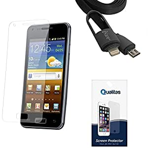 Qualitas Ultra Clear Pack of 3 Anti-Glare Anti-Scratch Anti-Fingerprint Screen Protector for Micromax Canvas Selfie Lens Q345 + 2-in-1 Lightning Cable with 8 Pin and Micro USB Connectors