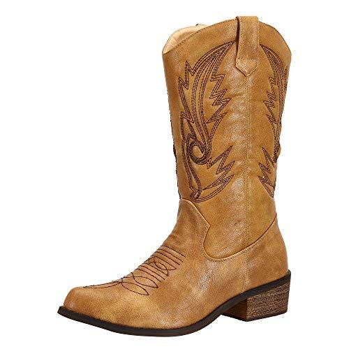 SheSole Damen Westernstiefel Halbhohe Cowboy Stiefel Bräunen 36 -