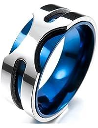 MENDINO 8mm Anillo de acero inoxidable para hombre en color azul metalizado con 1 bolsa de terciopelo, para bodas.