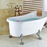 galvanoplástica Retro Grifo baño latón envejecido en el suelo pie bañera grifo ducha Mixer Set 2patas escribir