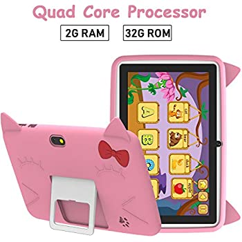Tablet para Niños 7 Pulgadas, 32GB ROM Android 6.0 Tableta con Estuche de para Niños Silicona y Soporta Tarjeta TF - HD Tablets 1280x800, Doble Cámara ...