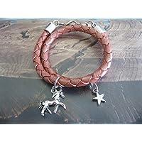 Handmade Kinder/ Mädchen Echt Leder Wickel Armband zart Rosa- Rosenholz Metallic, geflochten Pferd/ Stern- Umfang 13,5- 14 cm