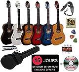 Pack Guitare Classique 4/4 (Adulte) + 6 Accessoires + Cour Vidéo et DVD (Sunburst)