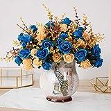 Flor Artificialflores Artificiales DIY Flores Y Jarrones Falsos Ramos De Plástico para La Decoración De La Oficina De La Boda De La Fiesta De Jardín En Casadiamante Amarillo Azul Oscuro