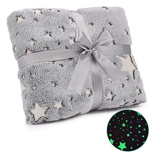 Exqline Kuscheldecke, Glow In The Dark Decke Kinderdecke leuchten im Dunkeln Plüschdecke Little Sterne Babydecke Bow Geschenk, 152×127cm Grau