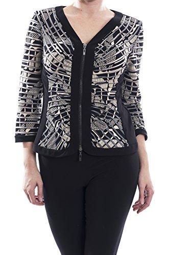 Joseph Ribkoff Black/Beige Front Zip Jacket Style 173889