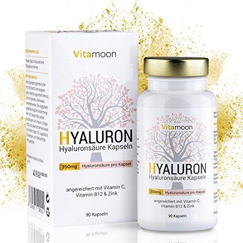 Hyaluronsäure Kapseln - Hochdosiert mit 350 mg pro Kapsel. 90 vegane Kapseln im 3 Monatsvorrat - 500-700 kDa - Angereichert mit Vitamin C, B12 und Zink - Für Haut, Anti-Aging und Gelenke - made in Germany - Vitamoon