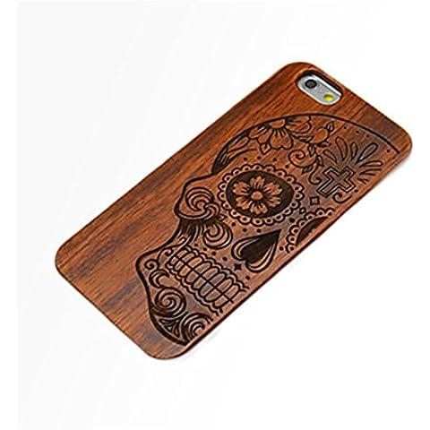PTitanMantisP custodia Incisione laser di legno e plastica combinazione di Maya cranio duro (iPhone 6S Plus iPhone 6S iPhone 6 Plus iPhone 6 iPhone SE iPhone 5/5S )(iPhone 6S/4.7,Marrone)