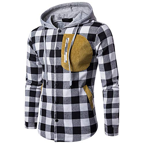 Blusa de Hombre BaZhaHei Camisetas de Cuadros Ocasionales de otoño de los  Hombres Camisa de Manga 2420477268ed