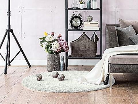 Komfort Shaggy Teppich Happy Wash Weiß rund nach Maß / waschbar, trocknergeeignet und pflegeleicht / schadstoffgeprüft, antistatisch, robust, schmutzabweisend / für Wohnzimmer, Schlafzimmer, Bad uvm, Größe Auswählen:100 cm