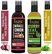 Dazel - The Skin Pulse® Onion Hair Oil with Black Seed & Curry Leaf Hair Oil With Easy Comb Applicator (10