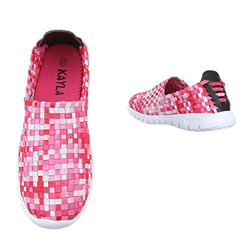 Ital-Design , chaussons d'intérieur femme Rot Multi DSC002-14