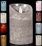 LED Echtwachskerze Kerze Farbauswahl Timer flackernde Wachskerze Kerzen Batterie, Farbe:Grau, Größe:15 cm
