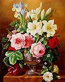 Rihe Malen Nach Zahlen, DIY Ölgemälde Weiße Rote und Rosa Blumen Leinwand Drucken Wandkunst Haus Dekoration Ohne Rahmen