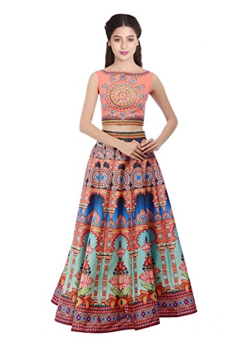 Orange Silk Printed Designer Floor Length Anarkali Gowns  available at amazon for Rs.1999
