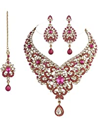 I Jewels Traditional Gold Plated Kundan Necklace Set With Maang Tikka For Women(Rani/Dark Pink)(K7018Q)