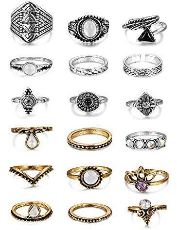 Milacolato Stück Orientalisches Vintage Knuckle Ring Set für Damen Mädchen, Fashion Frauen Midi Ringe Nagel Finger Band