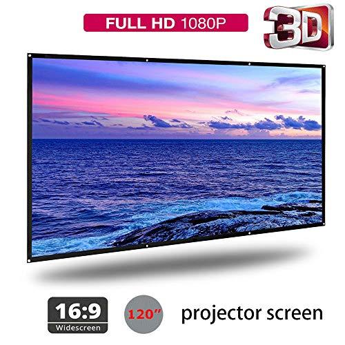 120'' schermi di proiezione 16: 9 schermo proiettore per proiettore portatile stile portatile ampio angolo di visione per la casa, film, festa, bar, partita di calcio (120'')