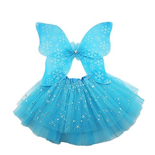 LUOEM Schmetterling Kostüme Prinzessin Fairy Kostüm Outfit Set mit Wing Tutu Rock für Mädchen Dress Up 2pcs