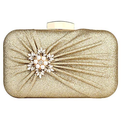 Damen Abendtasche Plissee Hochzeit Brautball Handtasche Gr. One size, gold -