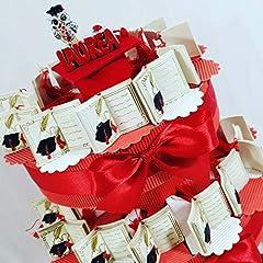 Idea Regalo - bomboniere Laurea Libro su Torta portaconfetti - Torta con scatoline a Forma di Fetta + 42 Libri + Centrale + Confetti Rossi Cioccolato