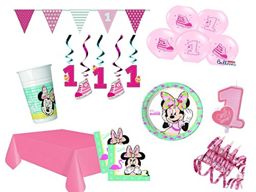(XXL Party Deko Set 1.Geburtstag Minnie Mouse Flamingo Kindergeburtstag für bis 16 Personen 63 teilig rosa türkis Mädchen)
