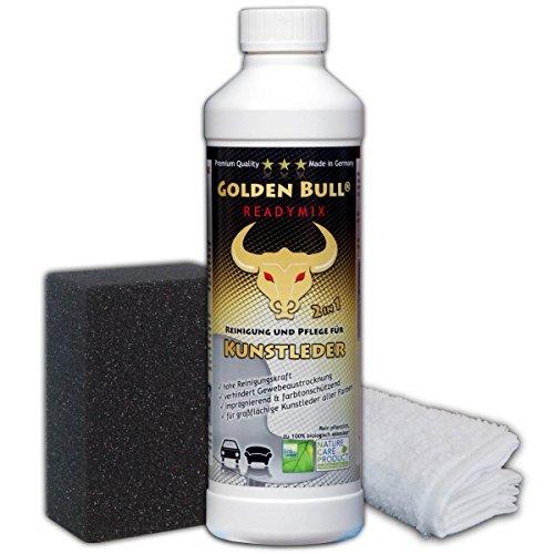 *Golden Bull READYMIX FÜR KUNSTLEDER Set 3-teilig, Kunstlederreiniger, Kunstlederpflege Kunstleder Pflege biologisch ökologisch (2-in-1) 500ml + Spezialschwamm + Baumwolltuch, öko-zertifiziert*