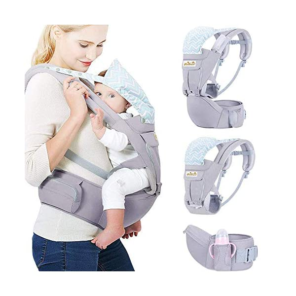 Viedouce Baby Carrier Ergonomic with Hip Seat/ Pure Cotton Lightweight and Breathable/ Multiposition:Dorsal, Ventral, Adjustable for Newborn and Toddler from 0 to 4 years (3.5 to 20 kg) Viedouce 【More environmentally friendly】 - High quality pure cotton fabric with 3D breathable mesh take care of your health and the health of your baby; The detachable sun visor and wind cap provide warmth in the winter and freshness in the summer. At the same time, the zipper buckle is designed for easy disassembly and cleaning. 【More ergonomic】 - An enlarged arc stool to better support the baby's thighs, the M design that allows the knees to be higher than the buttocks when your baby sits, is more ergonomic. 【Comfort and safety】 - The area near the abdomen is filled with a soft and thick sponge, reduces the pressure on the abdomen and gives more comfort to you and your baby. High quality professional safety buckles and velcro, shock absorbing pads, are equipped to protect your baby. 5
