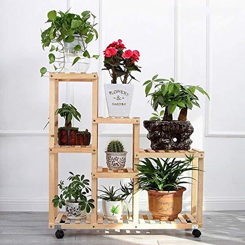 Stts fioriera stand-flower rack in legno massello a più strati ruota a banda larga piante verdi flower shelf soggiorno balcone rack in vaso,modelli di puleggia,colore grigliato alla griglia
