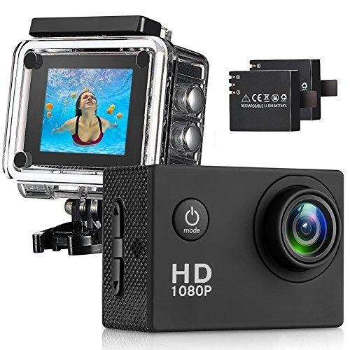 Diimo 170° Obiettivo grandangolare Full HD 2 Pollici LCD Schermo Impermeabile 30m Action Camera con 2 batterie Ricaricabili e Tutti Gli Accessori necessari Kit