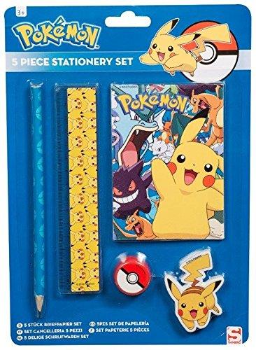 Pokemon | Pikachu 5piezas Escuela papelería para lápiz regla borrador sacapuntas Novelty Pen Set