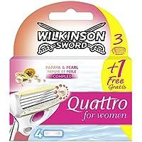 Wilkinson Quattro - Recambios para maquina de afeitar para mujer, 3 + 1 Hojas