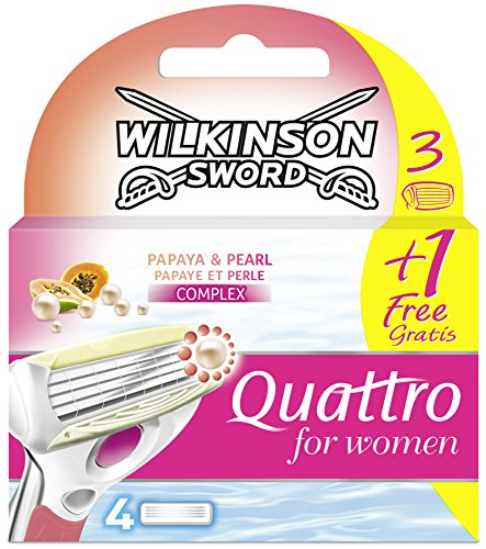 Wilkinson Sword Quattro for Women - Lamette per rasoio da donna, papaia e perla