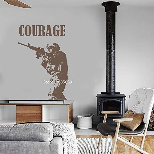 daufkleber Mut Zitat Wand Marine Soldat Silhouette Wandtattoo Kunstwanddekor Aufkleber Decals Boy Wohnheim Poster 42 * 62Cm, B ()