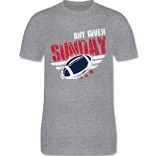Shirtracer American Football - any Given Sunday Football New England - Herren T-Shirt Rundhals Grau Meliert