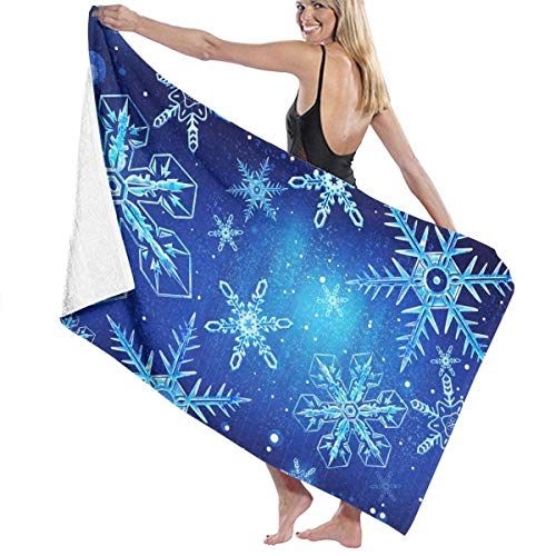 fgregtrg Beach Towels Decor Polyester Fiber Christmas Snowflake Blue Bath Towels Oversized Soft, High Absorbent, Eco-Friendly Printed Bath Towel,Quick Dry 31.5\
