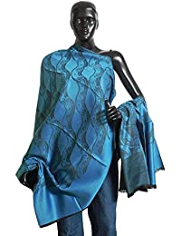 DollsofIndia Blue Shawl with Black Weaved Design - 38 x 78 inches (OO53)