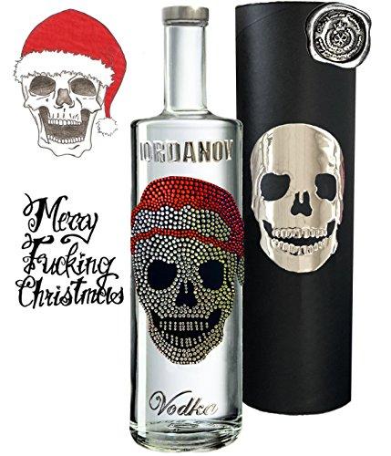 Geschenkset Christmas Skull | Vodka Luxus Designer Wodka Iordanov | Alternative Rotwein oder Gin | Geschenkbox mit original Chrome-Skull | für Männer | Weihnachten Christmas Luxus-Weihnachtsgeschenk