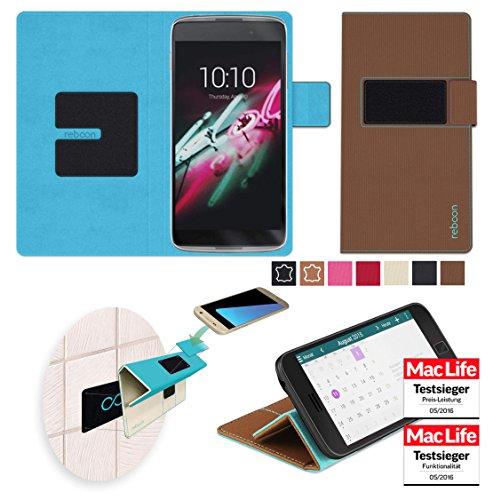reboon Hülle für Alcatel OneTouch Idol 3C Tasche Cover Case Bumper | Braun | Testsieger