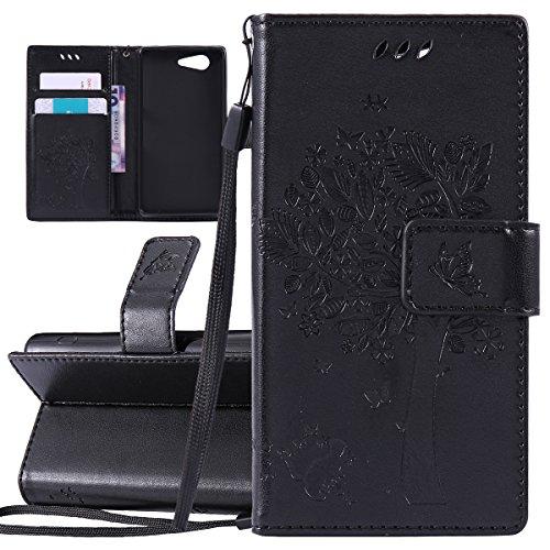 Custodia Xperia Z3 Mini - Cover per Sony Xperia Z3 Mini - ISAKEN Accessories Cover in PU Pelle Portafoglio Tinta Unita Custodia, Elegante Fiori Farfalle Pattern Design in Sintetica Ecopelle Libro Book Albero: nero